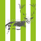 Deer In The Stripe Forest Seamless Vector Pattern Design