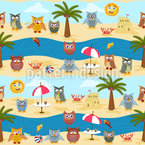 Owls By The Sea Seamless Vector Pattern Design