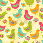 The Happy Chicken Seamless Vector Pattern Design