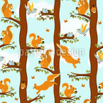 Squirrel Party Seamless Vector Pattern