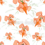 Bunnies Love Carrots Vector Ornament