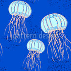 Art Deco Jellyfishes Seamless Pattern