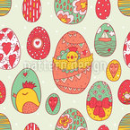Easter Egg Station Seamless Vector Pattern Design