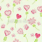 Herzblumen Im Mathematik Heft Nahtloses Vektormuster