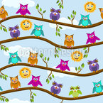 Owls On A Sunny Day Seamless Vector Pattern Design