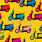 Scooters And Polkadots Seamless Vector Pattern Design