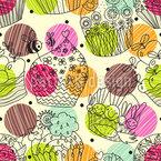 Becherkuchen Fantasien Nahtloses Vektormuster