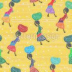 Afrikas Frauen  Nahtloses Vektor Muster