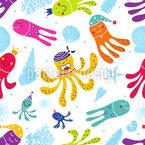 Karneval Der Oktopusse Nahtloses Vektormuster