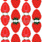 Erdbeeren Halb Und Ganz Nahtloses Vektormuster