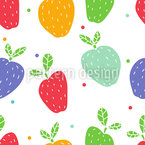 Apples On Dots Vector Pattern