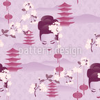 Kirschblüten Geisha Lila Nahtloses Vektormuster