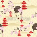 Kirschblüten Geisha Rot Nahtloses Vektormuster