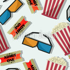Popcorn In 3D Cinema Seamless Vector Pattern Design