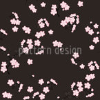 Cherry Branches Black Seamless Vector Pattern Design
