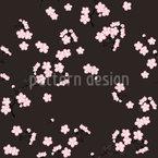 Kirschblütenzweige Schwarz Designmuster