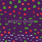 Fish In The Water Lily Pond Seamless Pattern