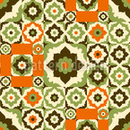 Flowers From The Retro Orient Design Pattern