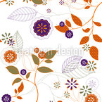 Autumn Flowers Seamless Vector Pattern