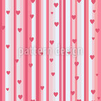 Romantic Hearts On Strips Repeat Pattern