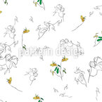 Summer Flower Drawing Seamless Vector Pattern Design