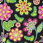 Nacht Blumen Folklore Nahtloses Vektormuster
