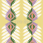 Vertical Ethno Leaves Seamless Vector Pattern Design
