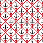 Heart And Anchor Seamless Vector Pattern Design