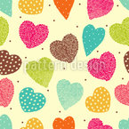Vintage Heart Seamless Vector Pattern Design
