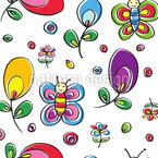 Schmetterlinge Im Blumen Glück Nahtloses Vektormuster