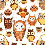 Autumn Owls Seamless Vector Pattern Design