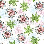 Flores E Folhetos Design de padrão vetorial sem costura