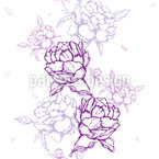 French Peonies Seamless Vector Pattern Design