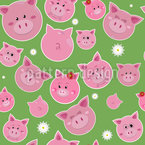 Family Pig Is Very Lucky Seamless Vector Pattern Design