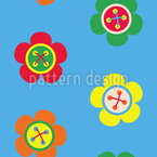 Flower Buttons Seamless Vector Pattern Design