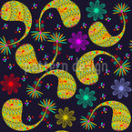 Paisley And Flower At Night Seamless Vector Pattern Design
