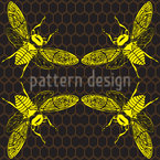 Honey Bees Seamless Vector Pattern Design