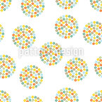 Retro Flower Circles Seamless Vector Pattern Design