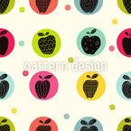 Apfel Sticker Nahtloses Vektormuster