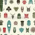 Tribal Masks Seamless Vector Pattern Design