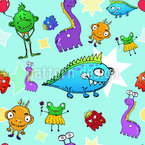 Monster Stars Vector Pattern