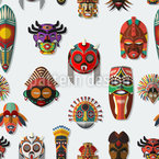 Masks On The Wall Seamless Vector Pattern Design