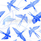 Swallows Flight Seamless Vector Pattern Design