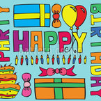 Happy Birthday Party Seamless Vector Pattern Design