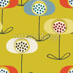 Retro Poppy Seamless Vector Pattern Design