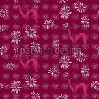 Daisy Flowers Purple Seamless Vector Pattern Design