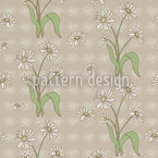 Daisy Flower Beige Seamless Vector Pattern Design