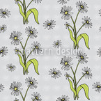 Daisy Flowers Grey Seamless Vector Pattern Design