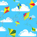 Kites In The Sky Seamless Vector Pattern Design