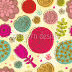 Doodle Flowers Seamless Vector Pattern Design